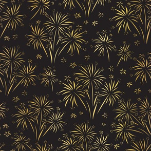 Golden Fireworks In The Dark