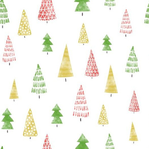 Watercolor Winter Christmas Tree Forest