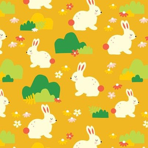 White Bunnies On Yellow