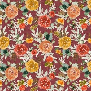 "4"" Autumn Day Florals Brick Back"