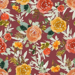 "8"" Autumn Day Florals Brick Back"