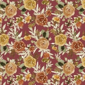"4"" Autumn Day Florals Sepia Brick Back"