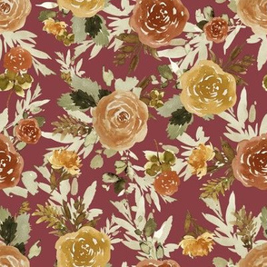"8"" Autumn Day Florals Sepia Brick Back"