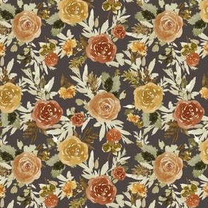 "4"" Autumn Day Florals Sepia Brown Back"