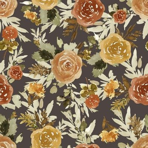 "8"" Autumn Day Florals Sepia Brown Back"