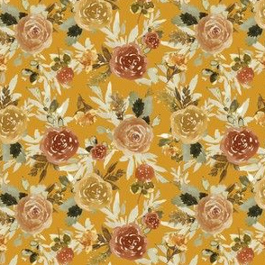 "4"" Autumn Day Florals Sepia Gold Back"