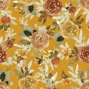 "8"" Autumn Day Florals Sepia Gold Back"