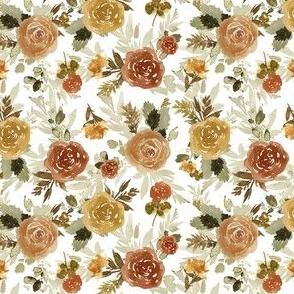 """4"""" Autumn Day Florals Sepia White"""