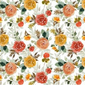 "4"" Autumn Day Florals White"