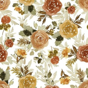 "8"" Autumn Day Florals Sepia White"