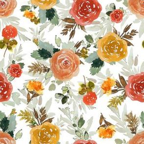 """8"""" Autumn Day Florals White"""
