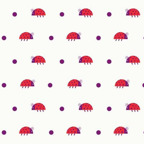Red ladybugs and purple dots over light yellow background