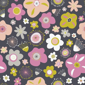 Abstract Flowers Black Gray Green Purple