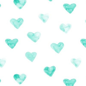 Aqua watercolor hearts