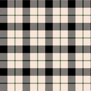 "6"" Ivory Black and Green Plaid"
