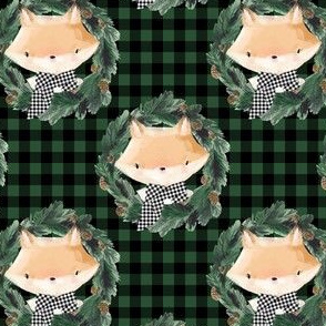"4"" Winter Boy Fox in Green and Black Gingham"