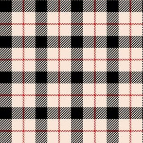 "6"" Ivory Black and Red Plaid"