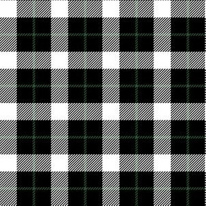 "6"" White Green and Black Plaid"