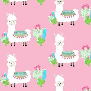 sweet white LLAMA 3 heart tapestry cactus - pink MED42