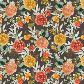 "4"" Autumn Day Florals Brown Back"
