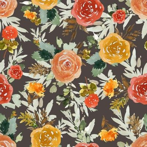 "8"" Autumn Day Florals Brown Back"