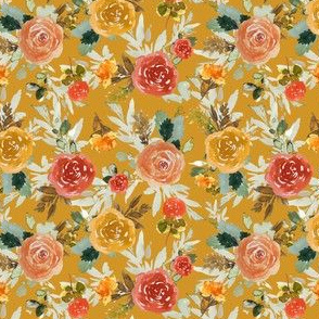 "4"" Autumn Day Florals Gold Back"