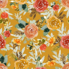 "8"" Autumn Day Florals Gold Back"