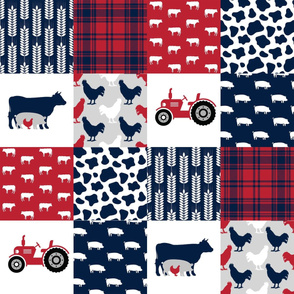 FARM3 | Tractor Cow Pig| Navy Red| Wholecloth Cheater Quilt