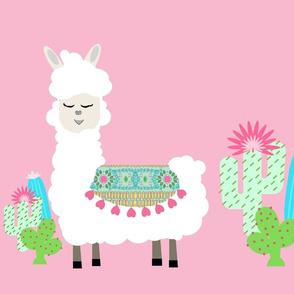 sweet white LLAMA 3 heart tapestry cactus - pink XL19