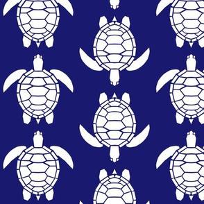 Three Inch White Turtles on Midnight Blue