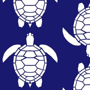 Jumbo White Turtles on Midnight Blue