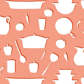 Coral Red and White Casserole Kitchen Print