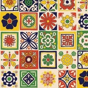 Talavera* (Traditional) || Mexican folk art tiles kitchen geometric flowers floral terra cotta
