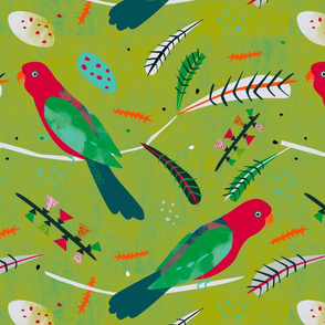 King Parrot fabric green