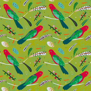 King Parrot fabric green small
