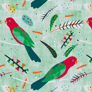King Parrot fabric pale linen green