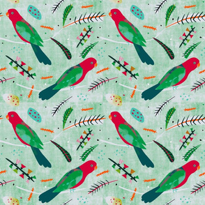 King Parrot fabric pale linen green small