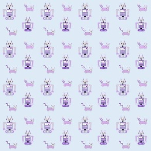 Robot Cats (Purple on Blue Background)