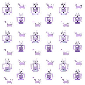 Robot Cats (Purple on White Background)