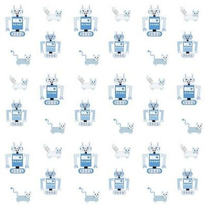 Robot Cats (Blue on White Background)