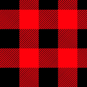Buffalo Plaid, Red and Black - Large scale