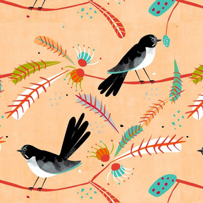 Willy Wagtail fabric warm tones