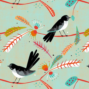 Willy Wagtail fabric green blue
