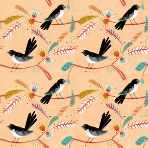 Willy Wagtail fabric warm tones small