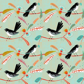 Willy Wagtail fabric green blue small