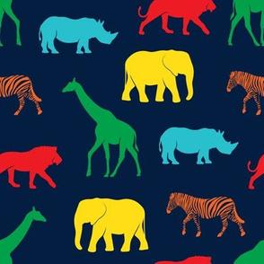safari animals - rainbow 4 on navy - C19BS