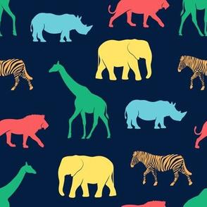 safari animals - rainbow 3 on navy - C19BS