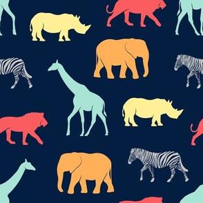 safari animals - rainbow 2 on navy - C19BS