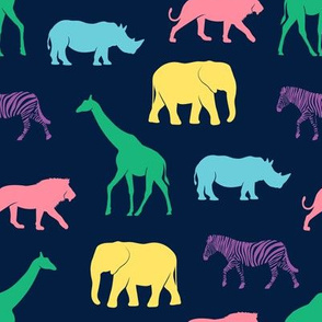 safari animals - rainbow on navy - C19BS