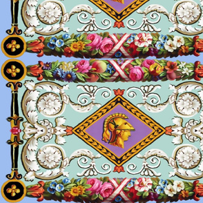 baroque rococo flowers floral border Greek Roman gladiator warrior soldier spartan helmet side profile cameo Athena goddess filigree flowers floral  fruits colorful rainbow ornate peaches roses white pink blue orange Versace inspired Hermes inspired